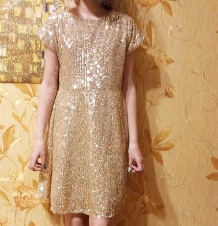 Стильное платье для девочки золотистое с пайетками MINOTI 146-152