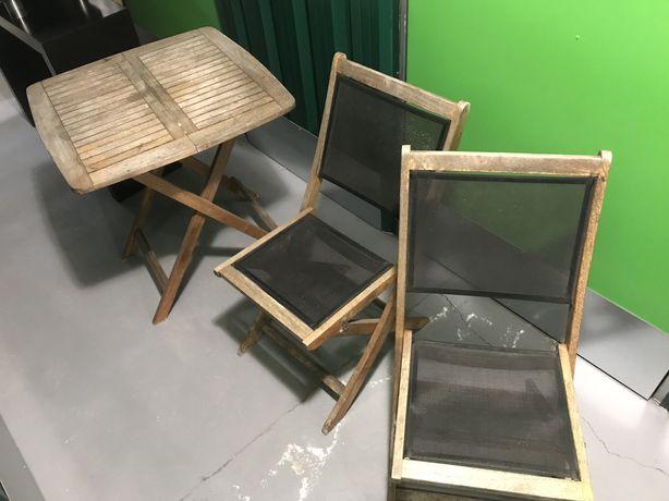 Mesa de jardim com 2 cadeiras em teka