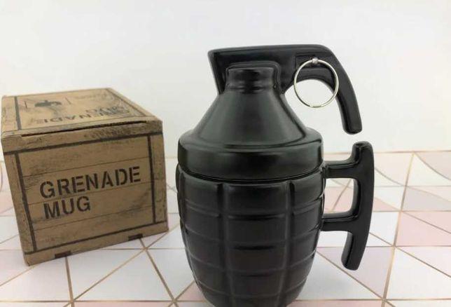 Кружка керамическая в форме гранаты с чекой Чашка лимонка с крышкой