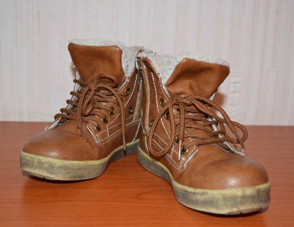 Кожаные утепленные ботинки в стиле Timberland, 26 размер, 17 см