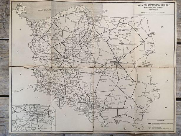 Mapa schematyczna linii kolejowych w Polsce i Europie lata 1964/65