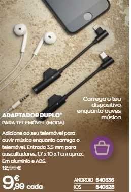 adaptador telemovel duplo android iphone ios