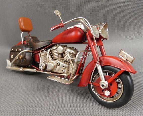 Metalowy MOTOR czerwony RETRO pojazd 27,5 cm