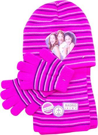 Czapka, szalik i rękawiczki Violetta,ciepły komplet na zimę.