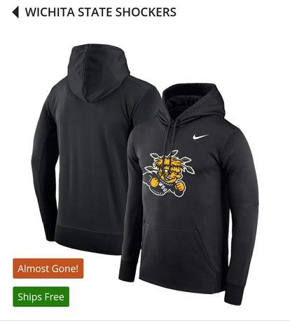Nike Black Wichita State Shockers Logo Therma bluza męska z kapturem