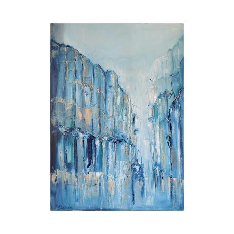 """Obraz olejny """"Szklane miasto"""", handmade,na prezent"""