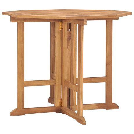 vidaXL Mesa de jantar p/ jardim dobrável 90x90x75 cm teca maciça 315447