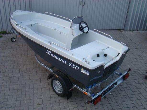 łódka motorówka Romana 430 z kierownicą, relingi,7schowków, HASWING