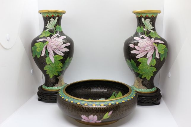 Conjunto em Metal Cloisonné Chinês Preto Floral Fios Dourados XIX 27 A