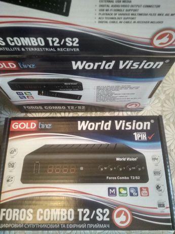 Спутниковый и эфирный Т2 тюнер World Vision FOROS COMBO T2/S2 (новый)