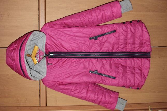 Демисезонное малиновое пальто Angeli.R под спортивный стиль, 34 разм