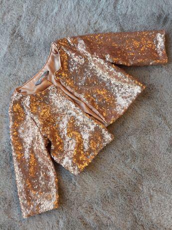 Bolerko całe z cekin 110/116 lindex j. Nowe rose Gold