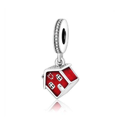 Srebrny charms zawieszka czerwony domek dom do bransoletki Pandora