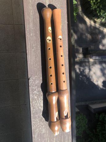 Dwa Drewniane Flety