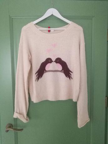 Sweter angora ptaki h&m