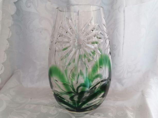 Ładny kryształowy duży zielony wazon mimoza polecam