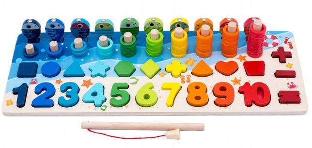 Montessori drewniane liczydło łowienie rybek cyfry