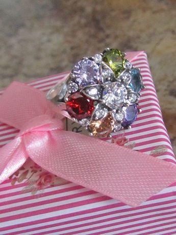Кольцо с цветными фианитами Хюррем серебро 925 + ПОДАРОК