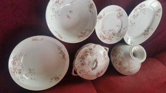 Explendido jogo porcelana limoges pintado a mano tons floriais rosas