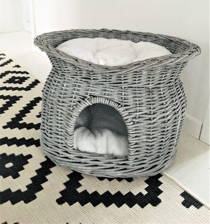 LEGOWISKO sofa dla kota domek 2 poziomy wiklina
