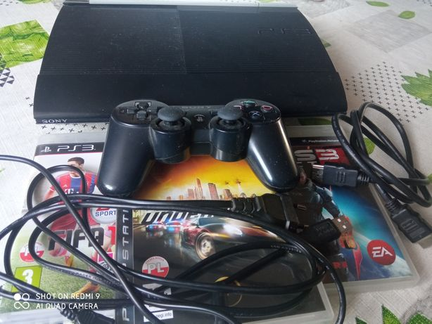 Konsola PlayStation 3 Super Slim 500G(Cech 4204C)+ 3Gry+ Pad