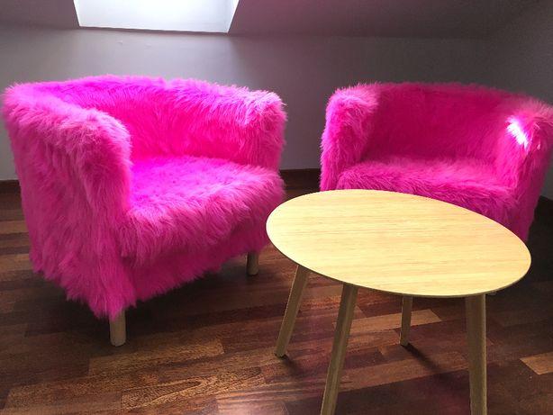 Fotele dwa futrzane fuksjowe / różowe kudłate, futrzany fotel