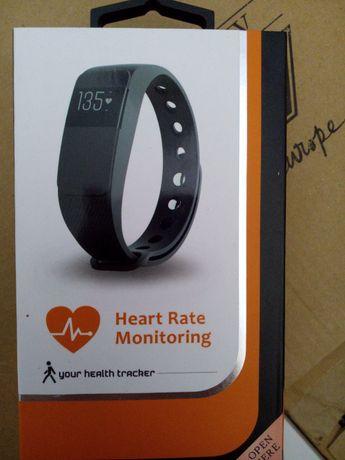 Relógio tipo FitBit roxo, novo, pedometro, monitor cardíaco, alarme