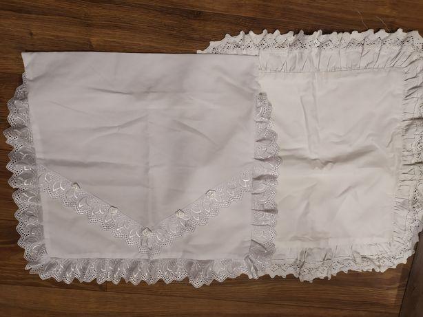 Białe poszewki 40x40 Chrzest