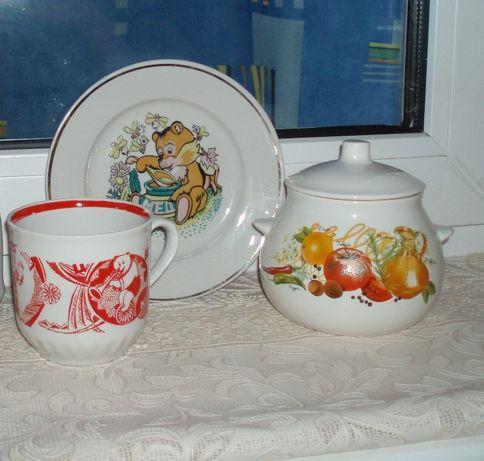 Детская посуда фарфор чашка тарелка супница/горшочек клеймо деколь