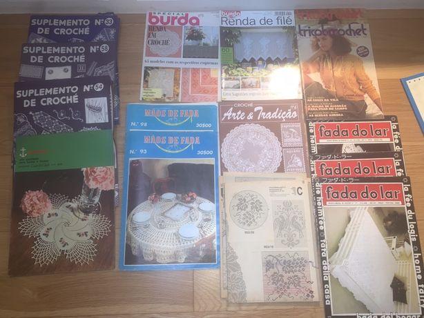 Revistas esquemas tricot crochet Rakam, Burda, Fada do Lar, Anos 80/90