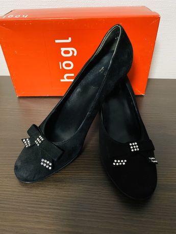 Чорні замшеві туфлі Hogl -37,5