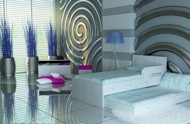 Łóżko piętrowe dla dzieci i młodzieży, eko skóra,kryształki,3 wymiary
