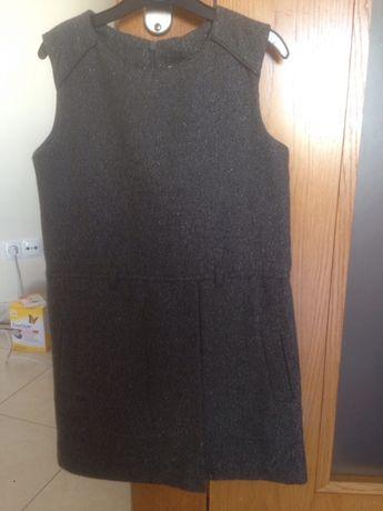 Vestido menina cinza escuro. 9 anos