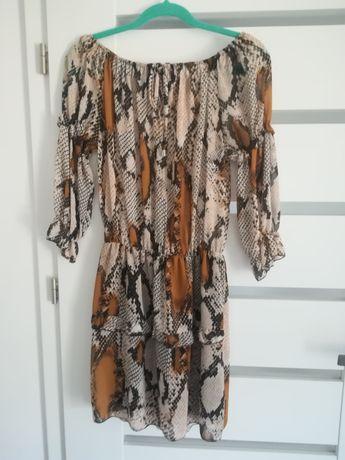 Sukienka wężowy wzór beż nude one size