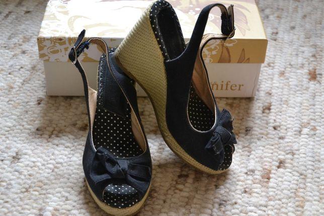 Czarne koturny/ sandały glamour