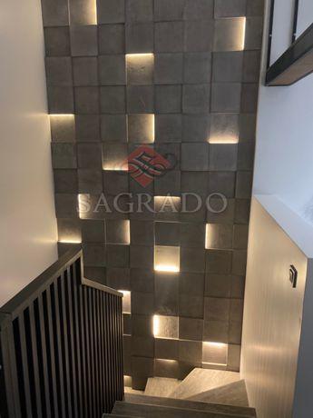Гипсовые 3д панели под бетон с Led подсветкой
