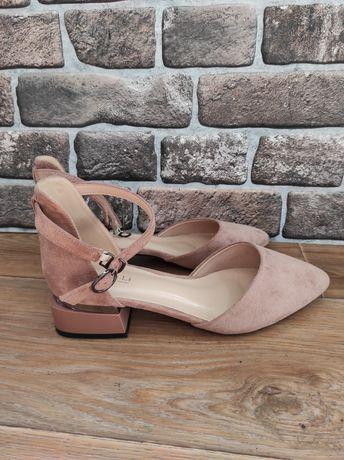 Красивые босоножки, туфли из экозамши