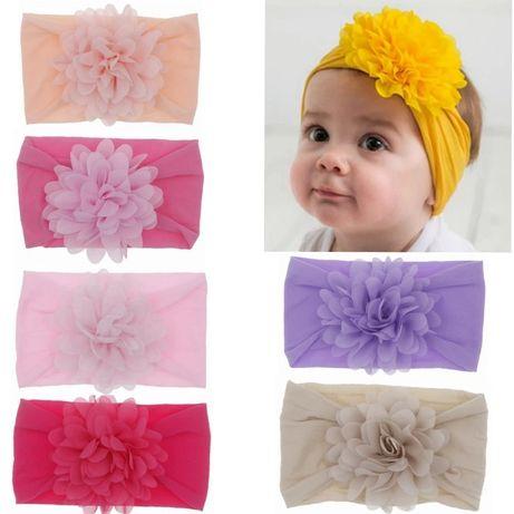 Розовая повязка на голову для девочки бант бантик