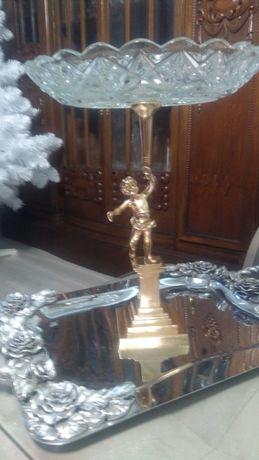 Stara figuralna patera, brąz złocony kryształ unikat