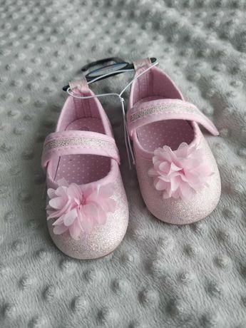 Buciki balerinki baleriny Pepco brokat różowe