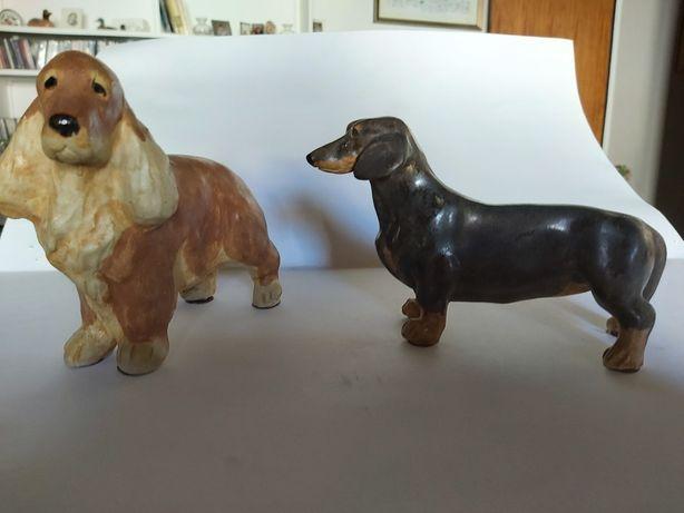 2 cães porcelana de colecção