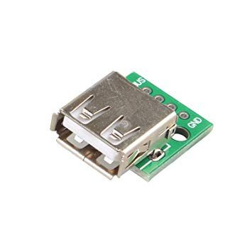 Conector femea USB tipo A 2.0 com pinos 2.54mm - pcb protoboard