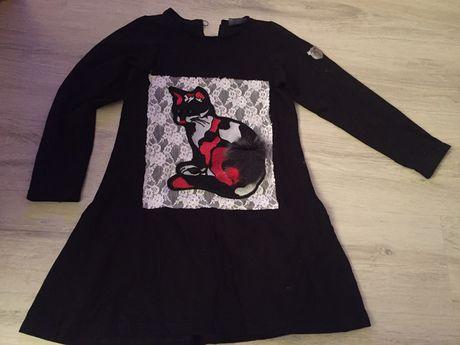Kids by voga Italia Czarna sukienka falbany kot pompon kot