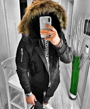 Мужская зимняя парка топовая молодежная куртка черная