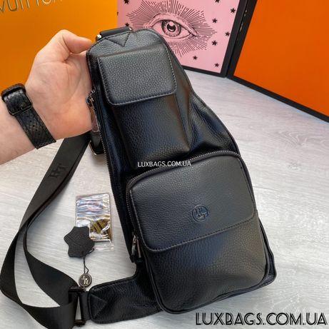 Мужская кожаная нагрудная сумка слинг H.T. Leather