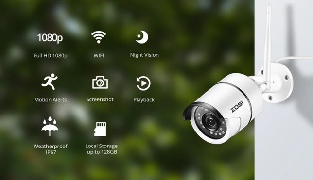 Camera Vigilancia Exterior WIFI 1080P 3MP IP67 Alerta Deteção Movimen
