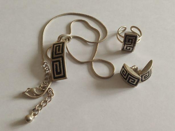 Zestaw biżuterii kolczyki wisiorek i pierścionek