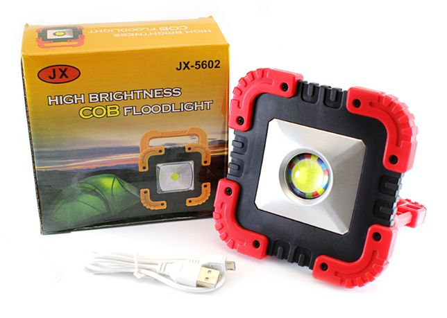 Halogen LED Solarny Warsztatowy Przenośny COB Aku 10W=100W F.VAT