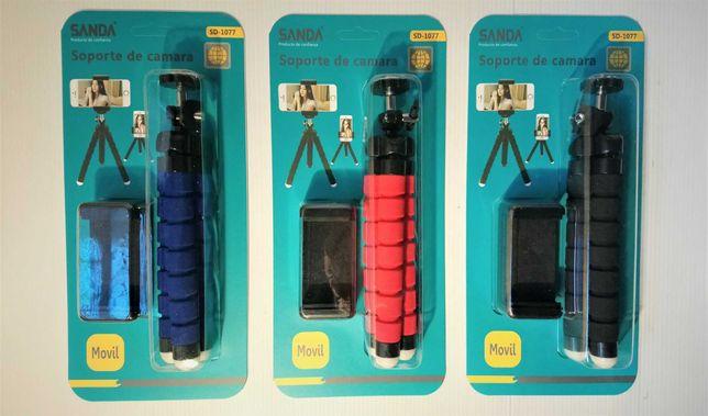 Mini Tripé para telemóvel braços maleáveis