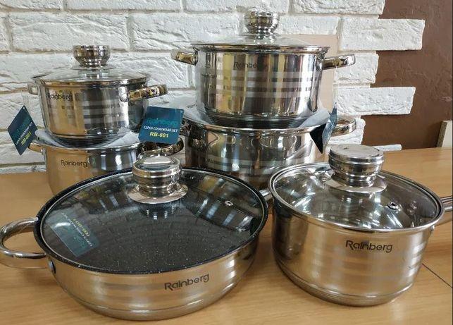 Набор кастрюль. RAINBERG-RB-601 посуда на 12,18 предметов.9ти слойное